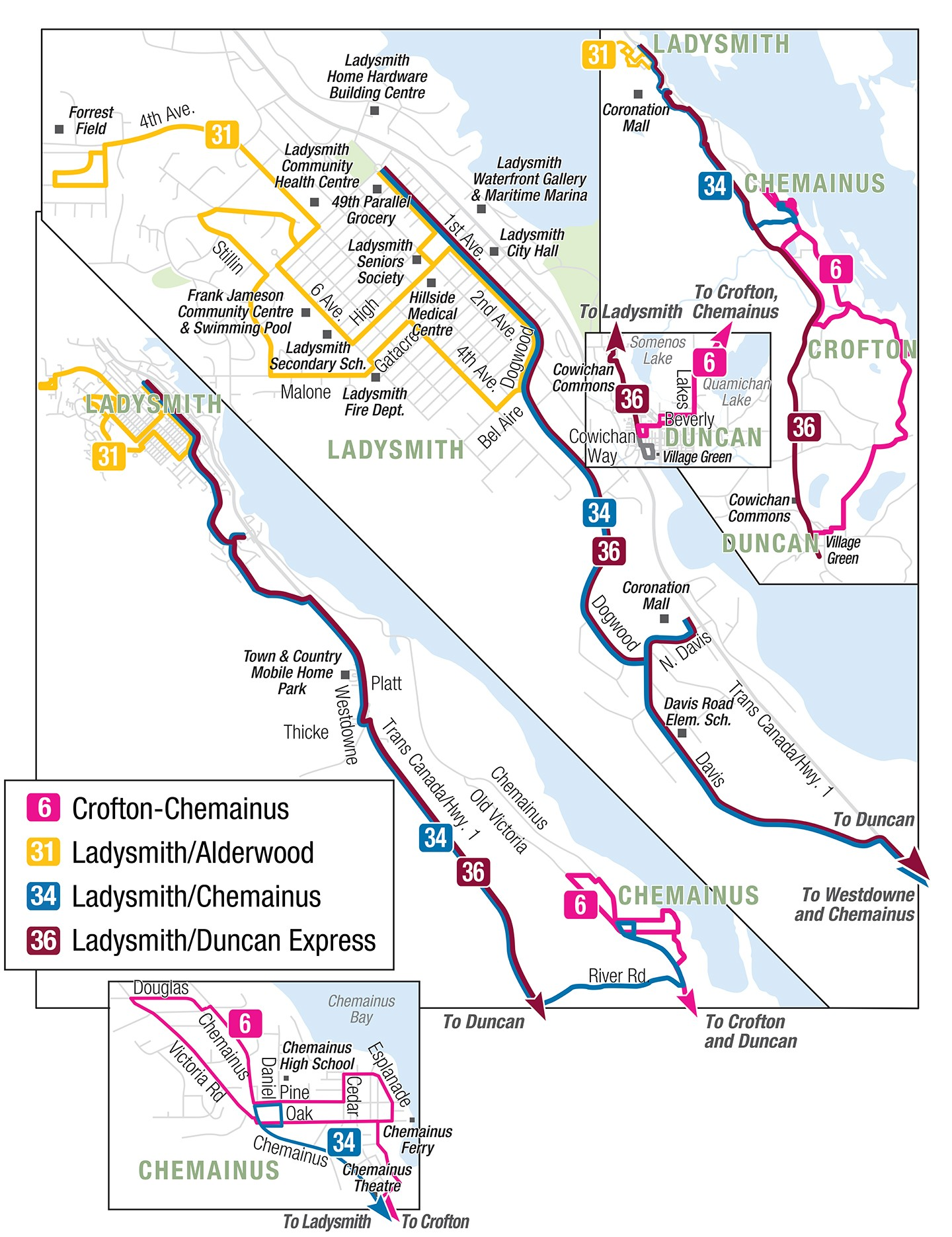 Ladysmith Bus transit routes